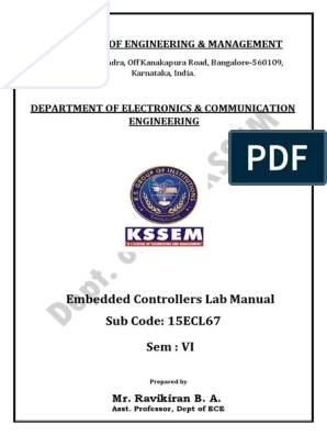Embedded Controllers Lab Manual (15ECL67) - VTU | Electric