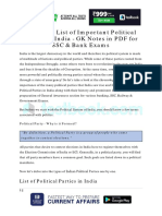 Complete List of Important Political Parties in India