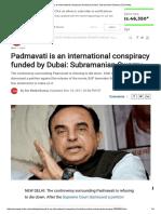 Padmavati is an International Conspiracy Funded by Dubai_ Subramanian Swamy _ Zee News