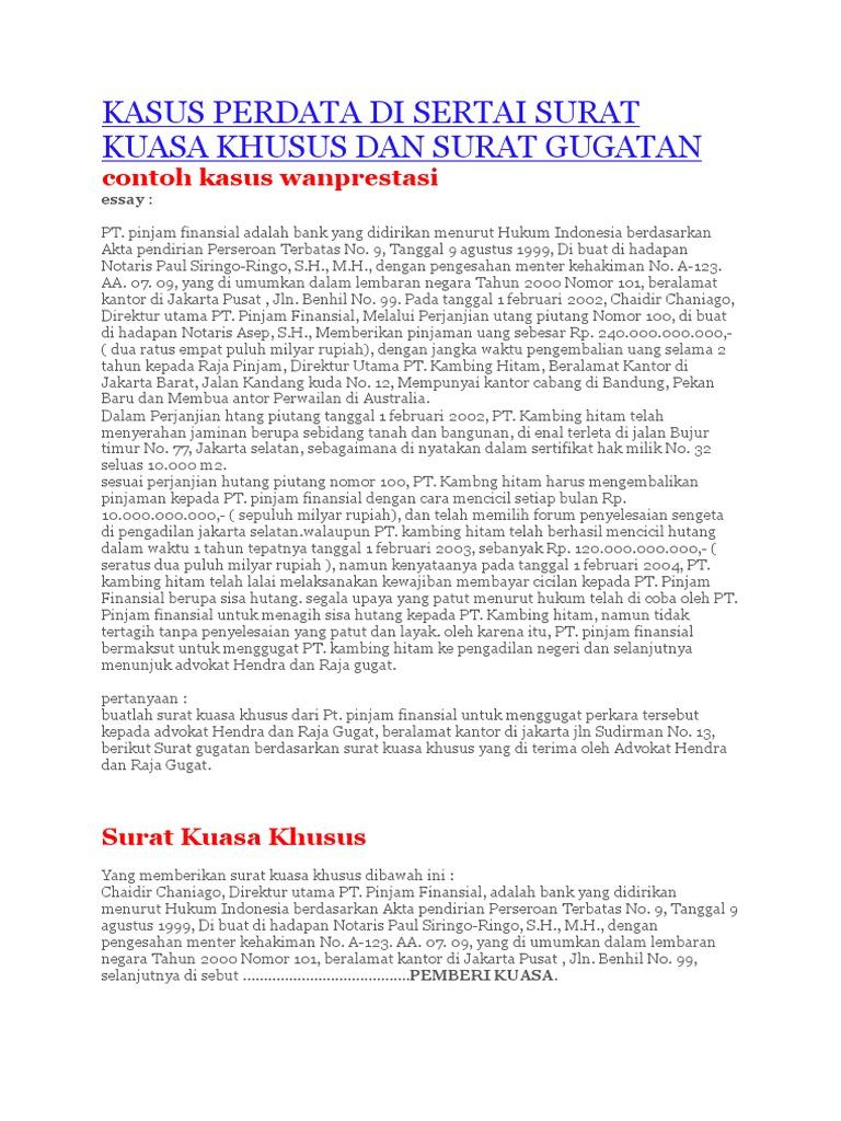 Kasus Perdata Di Sertai Surat Kuasa Khusus Dan Surat Gugatan