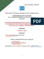 Conception et dimensionnement d'un réseau d'alimentation en eau potable et d'un réseau d'assainissement des eaux usées du projet Amandiers  ville Marrakech.pdf