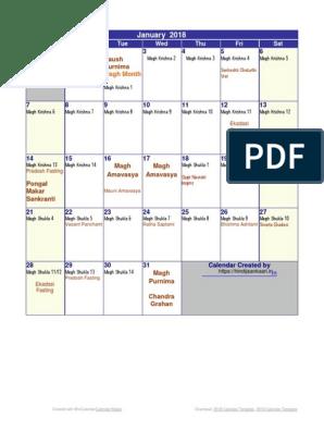 Thakur Prasad Calendar 2018 PDF | Indian Religions | Religious Holidays