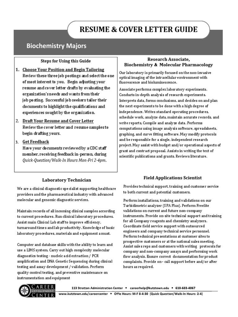 Biochemistry -Resume and Cover Letter GUIDE 2017   Experiment   Pharmacy