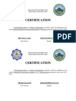 Certification of Affiliations