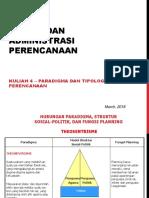 Kuliah 4- Paradigma Dan Tipologi Perencanaan