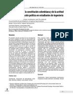 Espinosa, O.  & Mej+¡a, S.  (2016). Conocimiento de la constituci+¦n colombiana y de la actitud hacia la participacion politica en estudiantes de