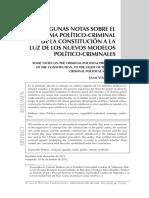 Algunas Notas Sobre El Programa Politico Criminal a La Luz de Los Nuevos Modelos Politico Criminales