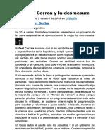 Jaime Durán Barba -- Rafael Correa y la desmesura