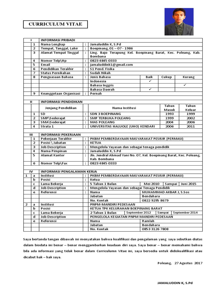 Contoh Daftar Riwayat Hidup Curriculum Vitae Cv