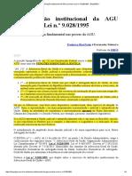 A Atribuição Institucional Da AGU Prevista Na Lei n.º 9