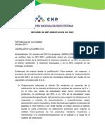 INFORME DE IMPLEMENTACION ISO 9001(fundamentacion de un sistema de calidad SENA)