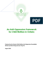 An Anti-Oppression Framework for Child Welfare in Ontario.