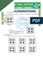 Ficha Crucisumas y Crucirrestas de Fracciones Para Tercero de Primaria