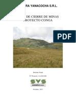 Proyecto Conga Plan de Cierre de Minas Octubre 2011