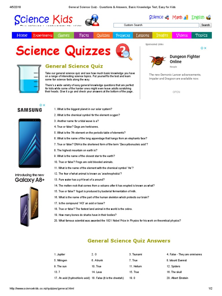 General Science Quiz - Questions & Answers, Basic ...