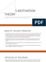 Taylor's Motivation Theory