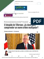El Despido de Tillerson_ ¿La Clave Para Comprender Un Nuevo Orden Multipolar