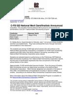 C-FB ISD National Merit Semifinalists Announced