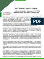 PRESIDENCIA DE COMISIÓN DE PUEBLOS A FAVOR DE DEROGAR LEY QUE AFECTARÍA A PUEBLOS PIACI