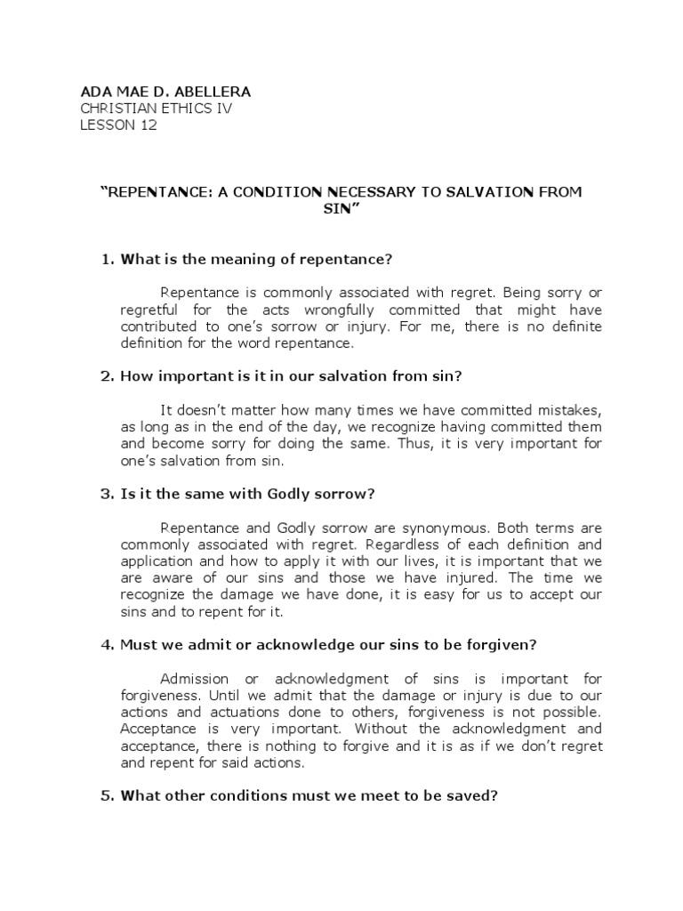 ada mae lesson 12 | repentance | sin