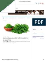 La Moringa, Sus Beneficios y Como Consumirla