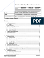 Admissions to Hdr Programs Procedure