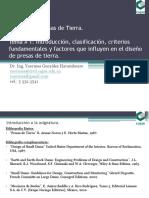 Conferencia # 1 Introducción, Clasificación, Criterios Fundamentales y Factores Que Influyen en El Diseño de Presas de Tierra