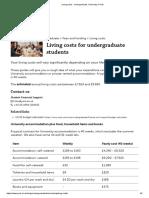 Living Costs - Undergraduate, University of York