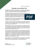 Designación del nuevo CEO de YPF