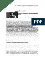 Un Nuevo Análisis Sobre La Fenomenología Del Espíritu de Hegel