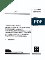 COVENIN 2285.1996 Transformadores Monofásicos Tipo Pedestal
