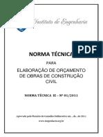 NORMA TCNICA Elaborao Oramento Construo Civil
