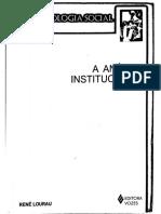 LOURAU, R. A análise institucional. Cap. Introdução