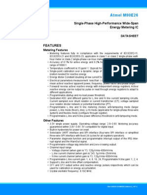 Atmel-46002-SE-M90E26-Datasheet pdf | Power Supply | Ac Power