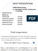 Peak temperature, Calculation of HAZ, Cooling rate in welding