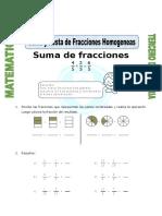 Ficha Suma y Resta de Fracciones Homogeneas Para Tercero de Primaria