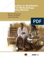 Introduction to Qualitative Research Methodology - A Training Manual