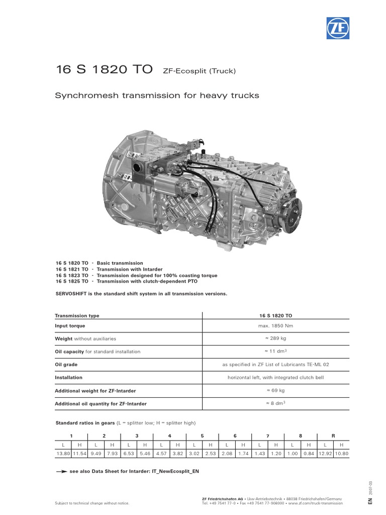 16 S 1820 TO (2) | Transmission (Mechanics) | Automobiles