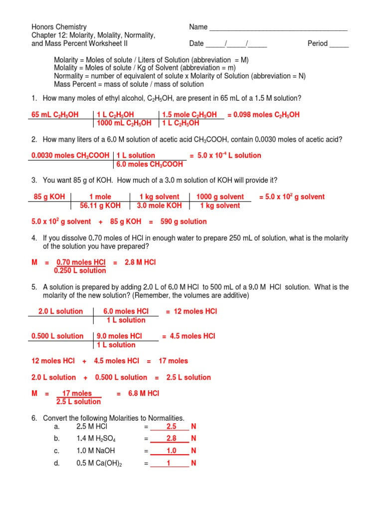 Molarity Molality Normality And Mass Percent Worksheet Ii Answer