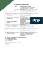 Questionnaire Comportemental