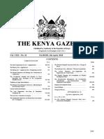 The Kenya Gazette Vol. 42 6th April 2018