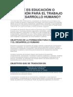 Educaciòn Para El Trabajo y Desarrollo Humano