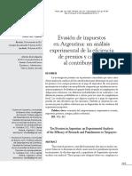 Evasion de Impuestos en Argentina Un Analisis Experimental de La Eficiencia de Premios y Castigos Al Contribuyente