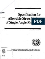 Specification for Allowable Stress Design of Single Angle Members June11989