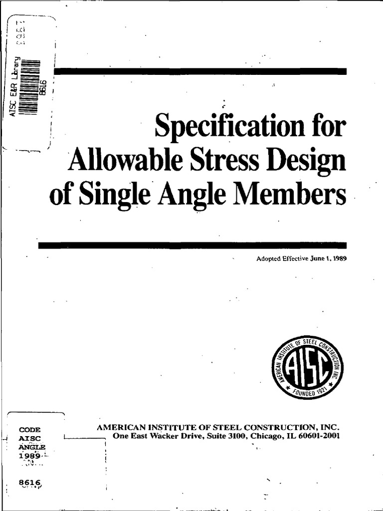 Specification for Allowable Stress Design of Single Angle