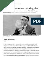 Sobre Roland Barthes, Todas Las Personas Del Singular