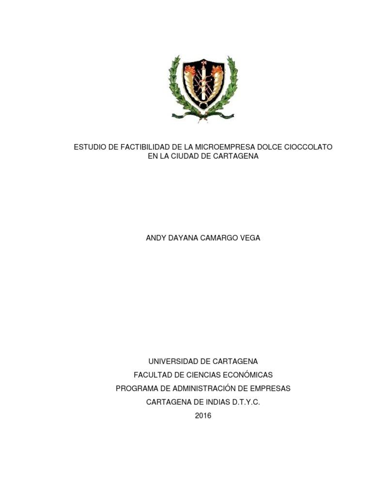 ESTUDIO DE FACTIBILIDAD PASTELERIA ((MICROEMPRESA DOLCE CIOCCOLATO ...