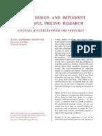 Successful Pricing Research