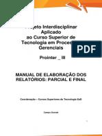 Prointer III Online TPG Manual de Elaboracao