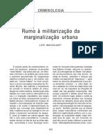 Wacquant - Rumo à Militarização Da Marginalização Urbana